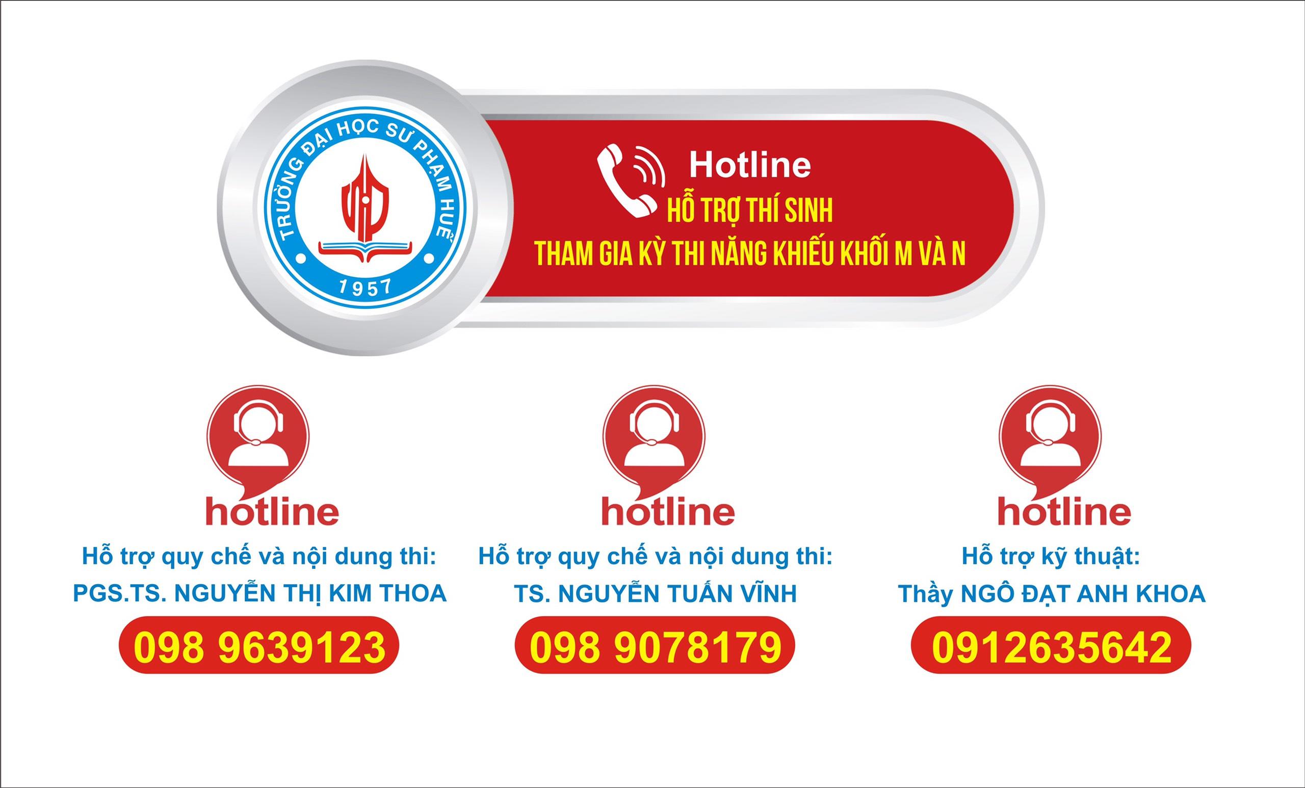 Hotline hỗ trợ thí sinh tham gia Kỳ thi năng khiếu khối M và N